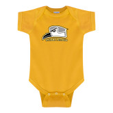 Gold Infant Onesie-Athletic Logo