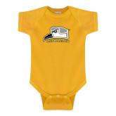 Gold Infant Onesie-Athletic Logo