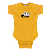 Gold Infant Onesie-Primary Athletics Logo