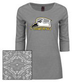 Ladies Grey Heather Tri Blend Lace 3/4 Sleeve Tee-Athletic Logo
