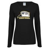 Ladies Black Long Sleeve V Neck T Shirt-Athletic Logo