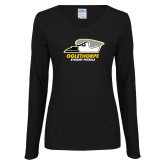 Ladies Black Long Sleeve V Neck Tee-Primary Athletics Logo