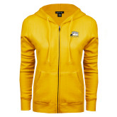 ENZA Ladies Gold Fleece Full Zip Hoodie-Athletic Logo