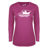 Ladies Syntrel Performance Raspberry Longsleeve Shirt-Primary Athletics Logo