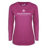 Ladies Syntrel Performance Raspberry Longsleeve Shirt-Primary University Logo