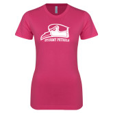 Ladies SoftStyle Junior Fitted Fuchsia Tee-Athletic Logo