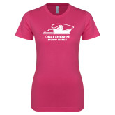 Next Level Ladies SoftStyle Junior Fitted Fuchsia Tee-Primary Athletics Logo
