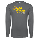 Charcoal Long Sleeve T Shirt-Fancy Script