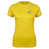 Ladies Syntrel Performance Gold Tee-Athletic Logo