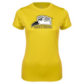 Ladies Syntrel Performance Gold Tee-Athletic Logo