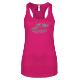 Next Level Ladies Raspberry Ideal Racerback Tank-A Silver Soft Glitter
