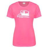 Ladies Performance Hot Pink Tee-Athletic Logo