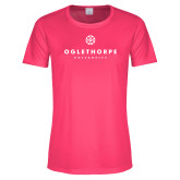 Ladies Performance Hot Pink Tee-Primary University Logo