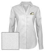 Ladies Red House Diamond Dobby White Long Sleeve Shirt-Athletic Logo