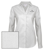 Ladies Red House Diamond Dobby White Long Sleeve Shirt-Primary University Logo