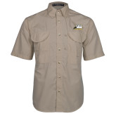 Khaki Short Sleeve Performance Fishing Shirt-Athletic Logo