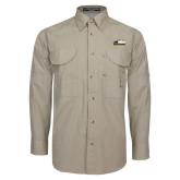 Khaki Long Sleeve Performance Fishing Shirt-Primary Athletics Logo