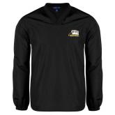 V Neck Black Raglan Windshirt-Athletic Logo