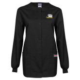 Ladies Black Snap Front Warm Up Scrub Jacket-Athletic Logo