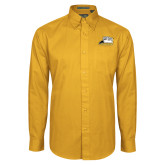 Gold Twill Button Down Long Sleeve-Athletic Logo
