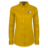 Ladies Gold Twill Button Down Long Sleeve-Athletic Logo
