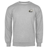 Grey Fleece Crew-Primary Athletics Logo