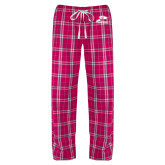 Ladies Dark Fuchsia/White Flannel Pajama Pant-Athletic Logo