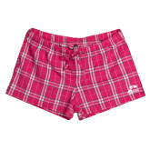 Ladies Dark Fuchsia/White Juniors Flannel Plaid Boxer-Athletic Logo