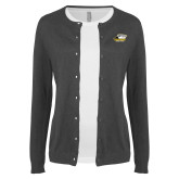 Ladies Charcoal Cardigan-Primary Athletics Logo