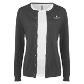 Ladies Charcoal Cardigan-Primary University Logo