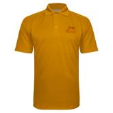 Gold Textured Saddle Shoulder Polo-Athletic Logo