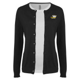 Ladies Black Cardigan-Primary Athletics Logo