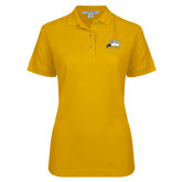 Ladies Easycare Gold Pique Polo-Athletic Logo