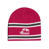Pink/Charcoal/White Striped Knit Beanie-Athletic Logo