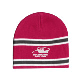 Pink/Charcoal/White Striped Knit Beanie-Primary Athletics Logo