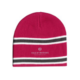 Pink/Charcoal/White Striped Knit Beanie-Primary University Logo