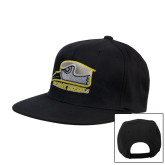 Black Flat Bill Snapback Hat-Athletic Logo