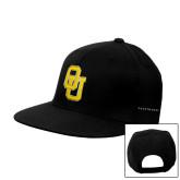 Black Flat Bill Snapback Hat-Interlocking OU