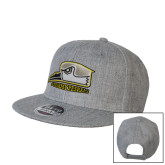 Heather Grey Wool Blend Flat Bill Snapback Hat-Athletic Logo