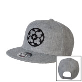 Heather Grey Wool Blend Flat Bill Snapback Hat-Quatrefoil