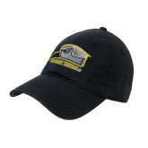 Black Twill Unstructured Low Profile Hat-Athletic Logo