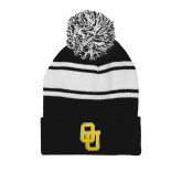Black/White Two Tone Knit Pom Beanie with Cuff-OU