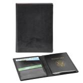 Fabrizio Black RFID Passport Holder-Athletic Logo Engraved