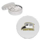 White Round Peppermint Clicker Tin-Athletic Logo