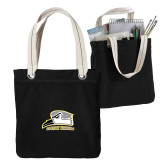 Allie Black Canvas Tote-Athletic Logo