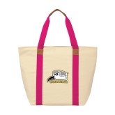 Natural/Tropical Pink Saratoga Tote-Athletic Logo