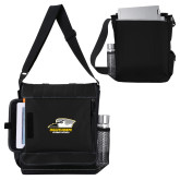 Impact Vertical Black Computer Messenger Bag-Primary Athletics Logo