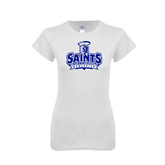 Next Level Ladies SoftStyle Junior Fitted White Tee-Our Lady of the Lake University Athletics - Offical Logo