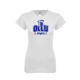 Next Level Ladies SoftStyle Junior Fitted White Tee-OLLU Saints