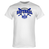 White T Shirt-Softball Crossed Bats Design
